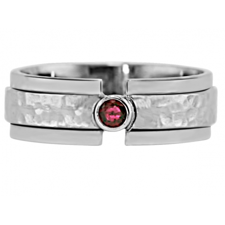"""One Bezel Tension Set"" Ring Design shown with July Birthstone"
