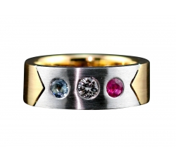 14K White & Yellow Gold Ring with Aqua Marine, Diamond  & Ruby Gemstones