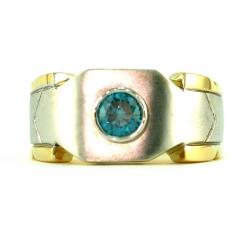 Ocean Blue Solitaire Diamond Ring