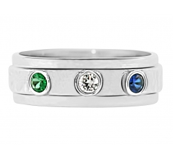 """Three Bezel"" Ring Design shown with May & September Birthstones"