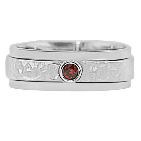 """One Bezel""  Ring Design shown with July Birthstone"