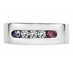 """Key West"" Ring Design shown with February & January Birthstones with Diamonds"