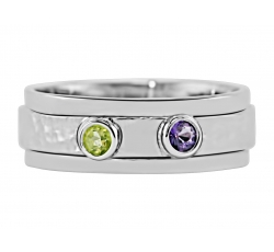 """Two Bezel Set"" Ring Design  shown with August & February Birthstones"