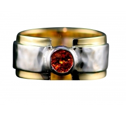 Soft Hammer Wide Band Gemstone Ring