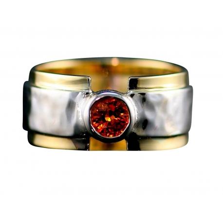 Soft Hammer Wide Band Gemstone Ring