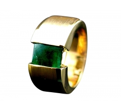 Emerald Tension Set Ring