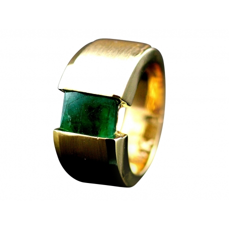 Emerald Tension Set Ring