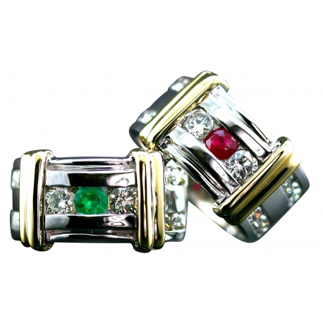 Ribbed Diamond Birthstone Rings