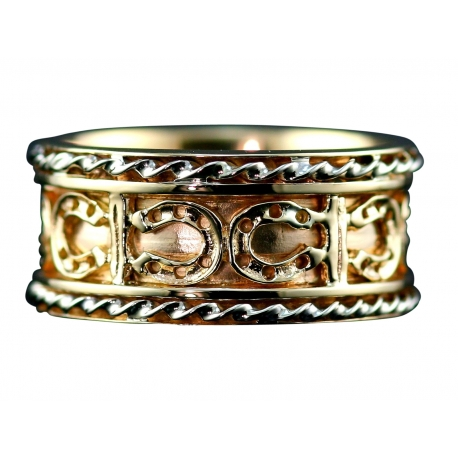 Equestrian Gold Horse Shoe Ring