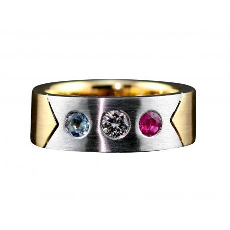 14K White & Yellow Gold Ring with Aqua Marine, Diamond  & Ruby Gemstones