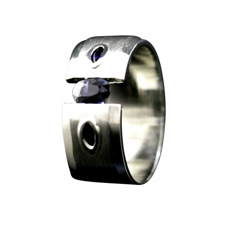 Sapphire Tension Set Band Ring