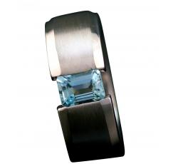 Aqua Marine Classic Tension Set Ring