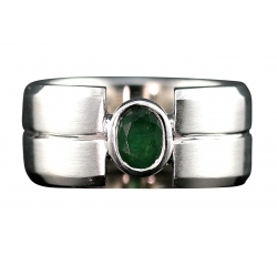 Emerald Bezel Set Ring