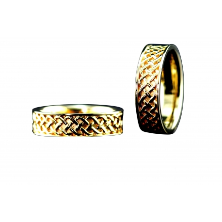 Celtic Weave Band Ring in White