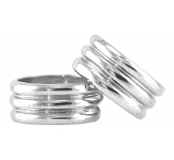Domed Triple Band Rings
