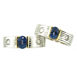 Sapphire and Diamonds Fluted Rings