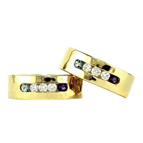 Texture Diamond and Gem Band Rings