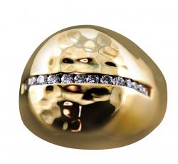 Contemporary Diamond Round Signet Ring