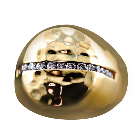 Contemporary Diamond Round Signet Ring