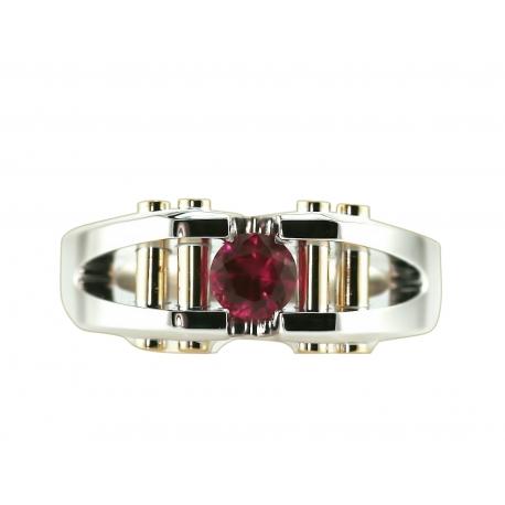 Geometric Column Ruby Gold Ring