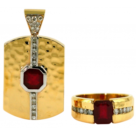 Diamond and Ruby Ring and Necklace Set