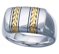 Geneva Signet Gold Braid Ring