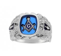Masonic Cerulean Blue Ring