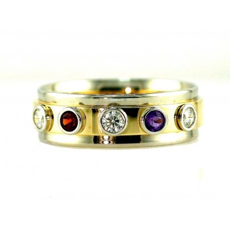 Two Tone Birthstone Gem and Diamond Ring