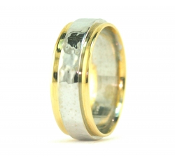 Two Tone Band Ring Softly Hammered
